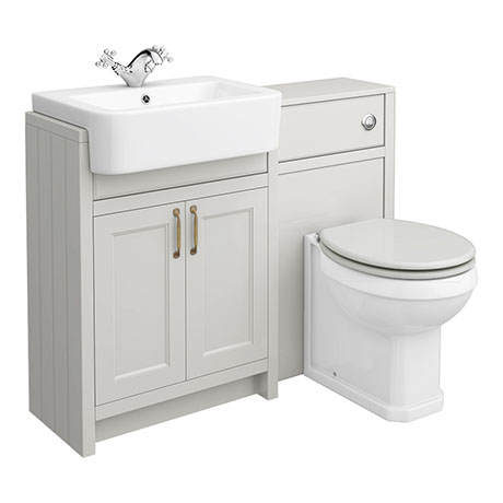 Chatsworth Traditional Grey Semi-Recessed Vanity Unit + Toilet Package
