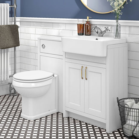 Chatsworth Traditional White Semi-Recessed Vanity Unit + Toilet Package