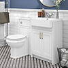 Chatsworth Traditional White Semi-Recessed Vanity Unit + Toilet Package profile small image view 1