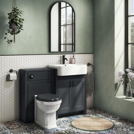 Chatsworth Traditional Graphite Semi-Recessed Vanity Unit w. Matt Black Handles + Toilet Package