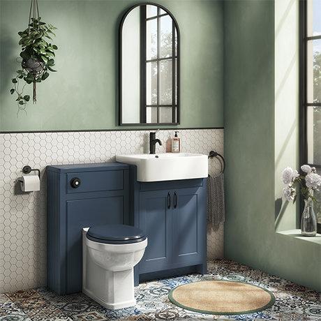 Chatsworth Traditional Blue Semi-Recessed Vanity Unit w. Matt Black Handles + Toilet Package