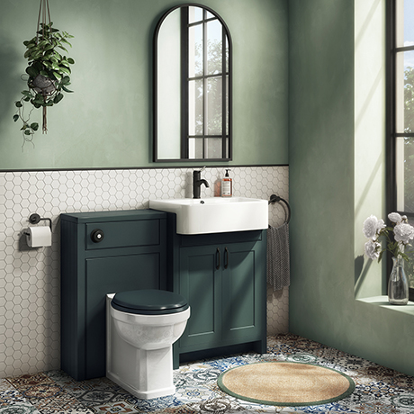 Chatsworth Traditional Green Semi-Recessed Vanity Unit w. Matt Black Handles + Toilet Package
