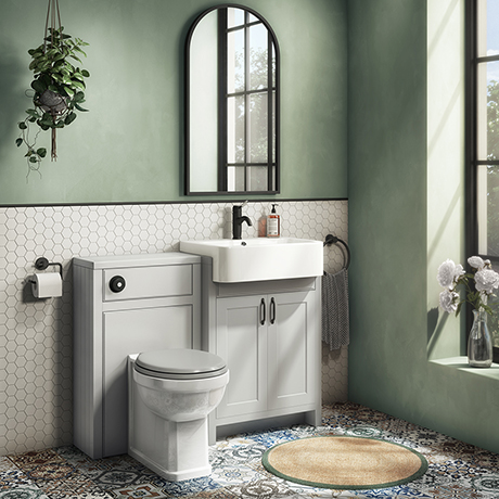 Chatsworth Traditional Grey Semi-Recessed Vanity Unit w. Matt Black Handles + Toilet Package