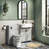 Chatsworth Traditional Grey Semi-Recessed Vanity Unit w. Matt Black Handles + Toilet Package profile small image view 1