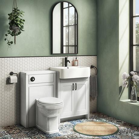 Chatsworth Traditional White Semi-Recessed Vanity Unit w. Matt Black Handles + Toilet Package