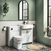 Chatsworth Traditional White Semi-Recessed Vanity Unit w. Matt Black Handles + Toilet Package profile small image view 1
