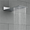 Milan Square Flat Fixed Shower Head (220 x 500mm) profile small image view 1