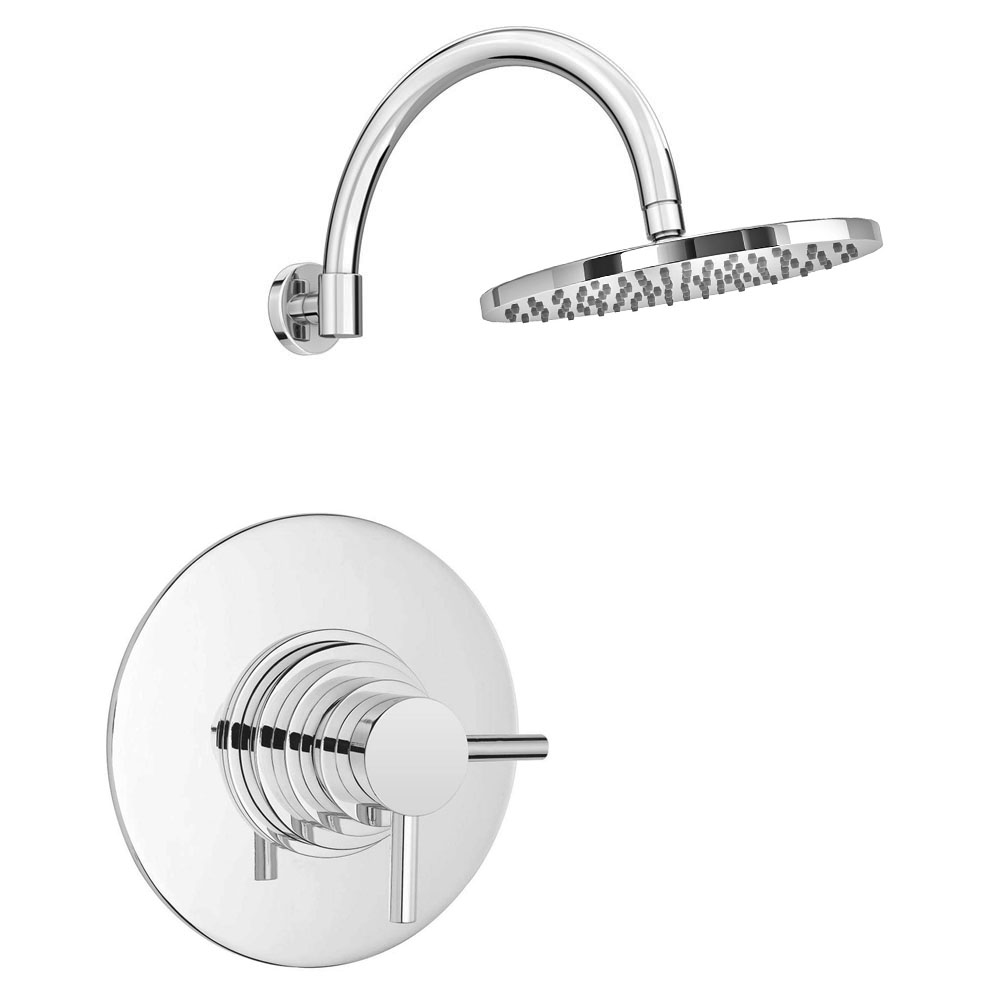 Cruze Round Concealed Dual Thermostatic Shower Valve with 200mm Head + Round Curved Arm