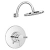 Cruze Round Concealed Dual Thermostatic Shower Valve with 200mm Head + Round Curved Arm profile small image view 1