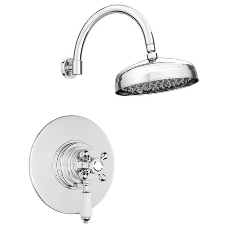 """Lancaster Round Concealed Dual Thermostatic Shower Valve with 8"""" Shower Head with Round Curved Arm"""