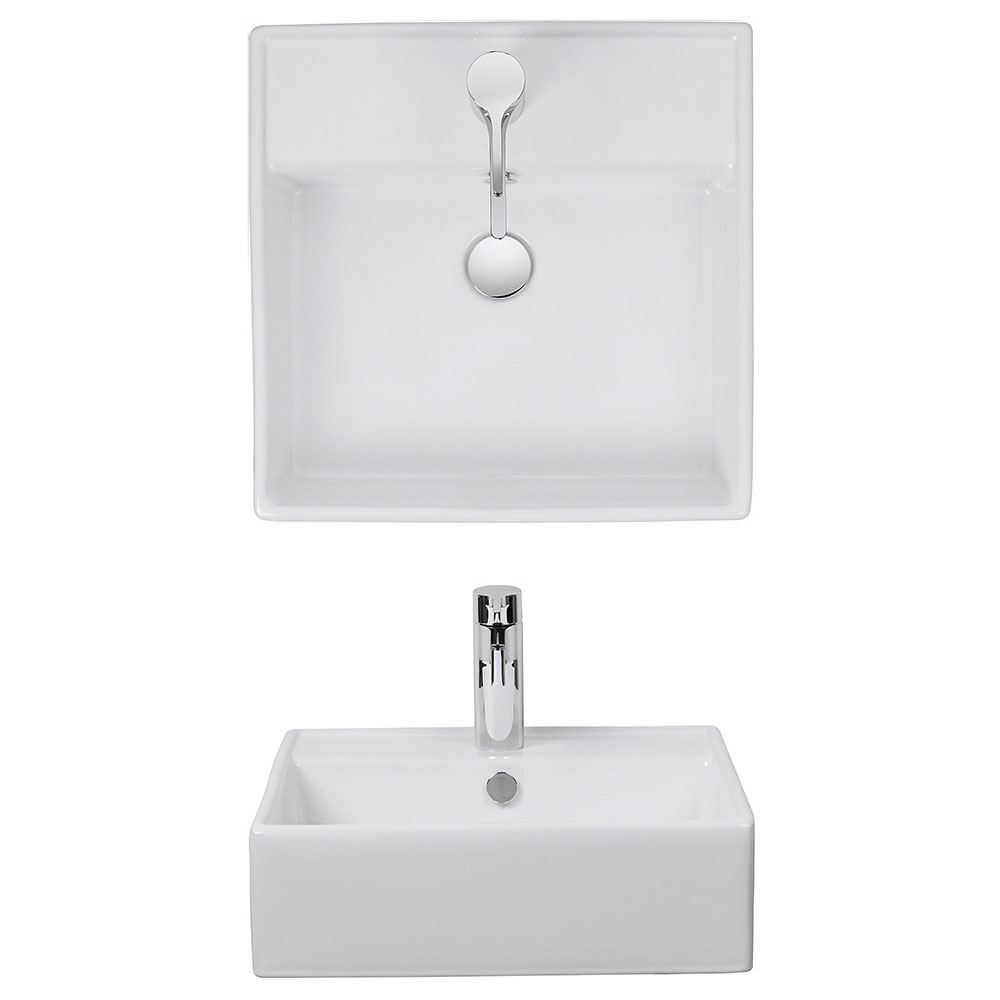 Bauhaus - Tenerife 1 Tap Hole Countertop or Wall Mounted Basin - 465 x 455mm Profile Large Image