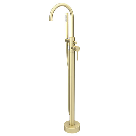 Arezzo Brushed Brass Freestanding Bath Tap with Shower Mixer