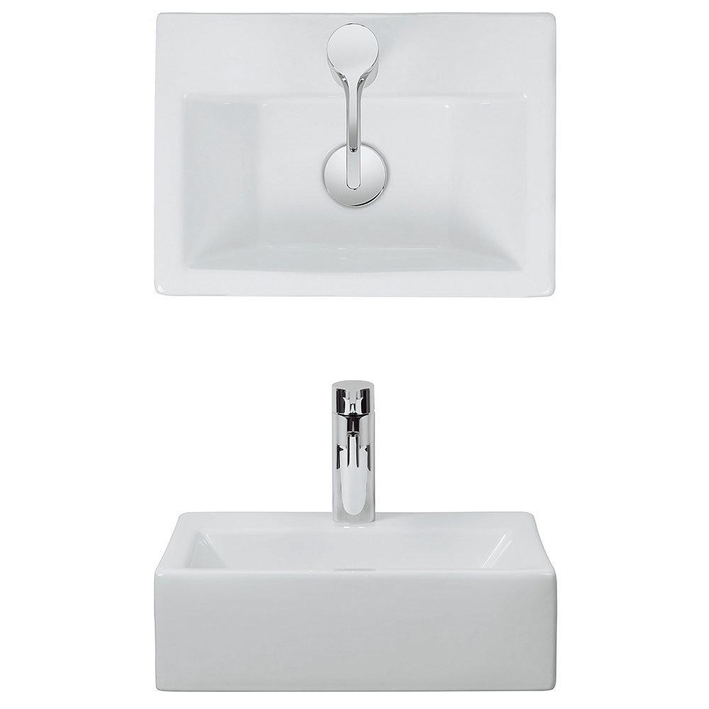 Bauhaus - Gerona 1 Tap Hole Countertop or Wall Mounted Basin - 425 x 305mm profile large image view 2