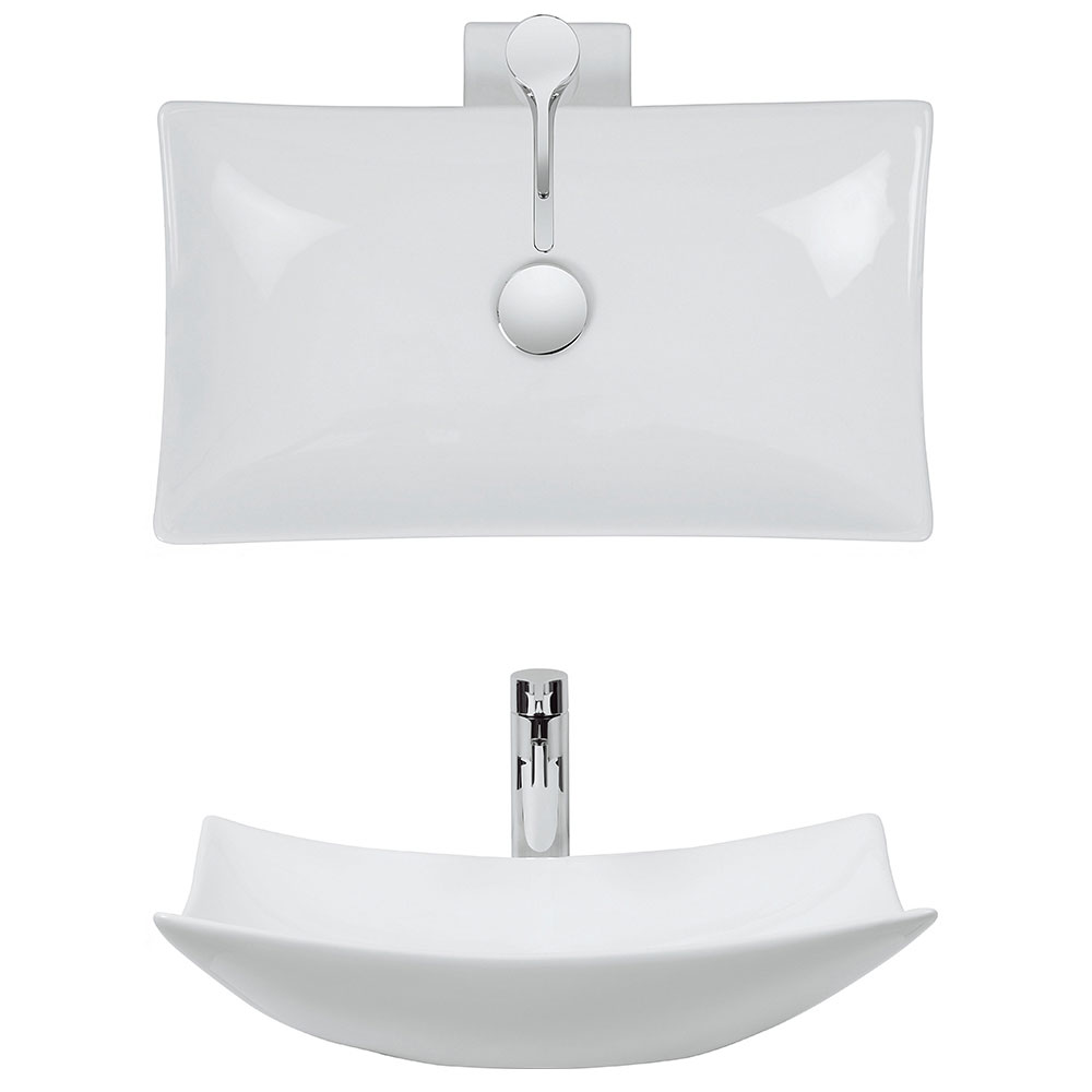Bauhaus - Magdalena 1 Countertop Basin with Tap Ledge - 570 x 390mm profile large image view 2
