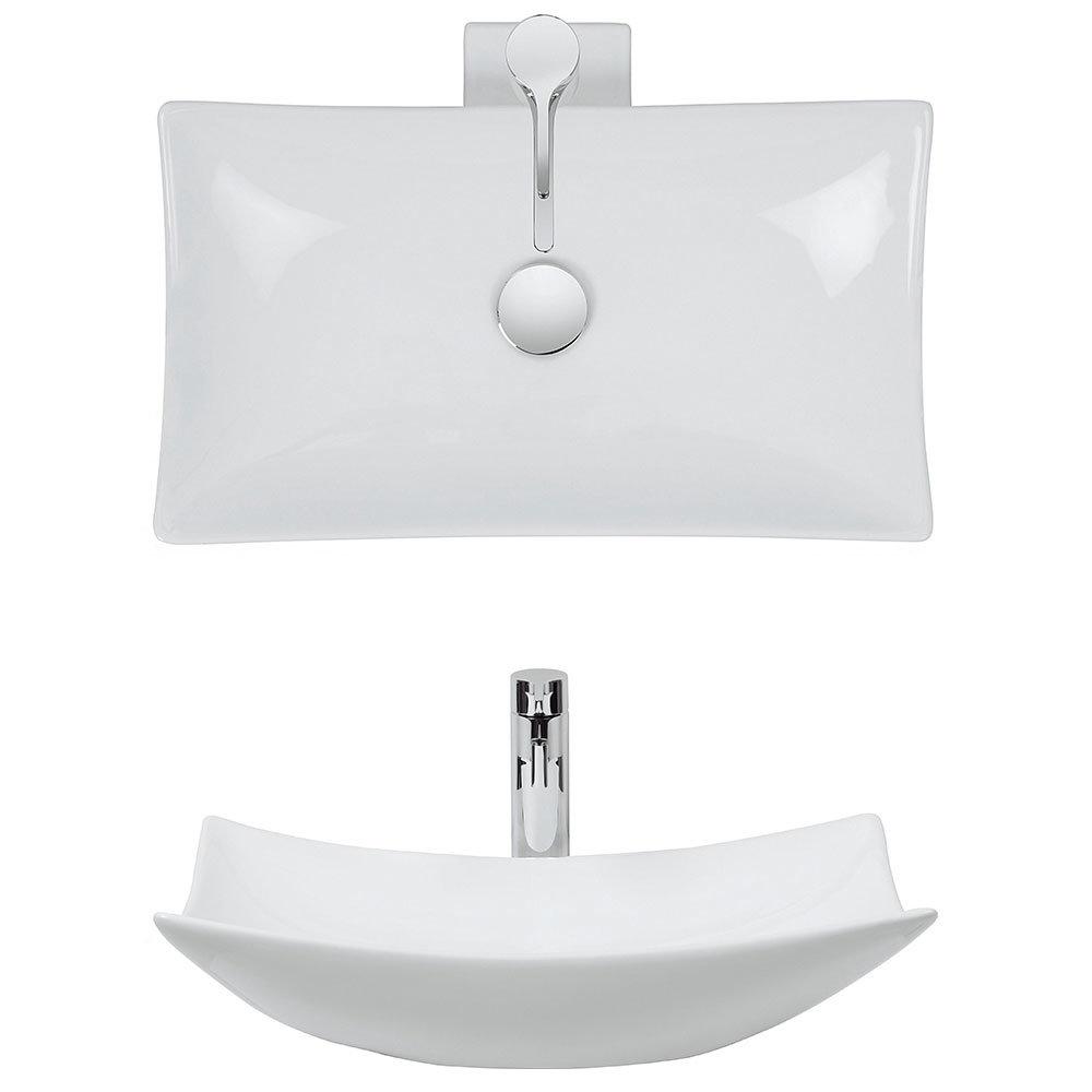 Bauhaus - Magdalena 1 Countertop Basin with Tap Ledge - 570 x 390mm profile large image view 2