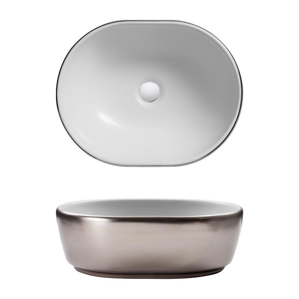 Bauhaus Pearl Platinum Countertop Basin - 450 x 350mm profile large image view 2