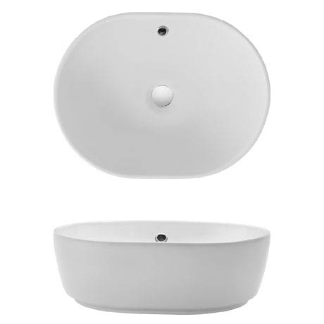 Bauhaus Pearl Countertop Basin with Overflow - 450 x 350mm