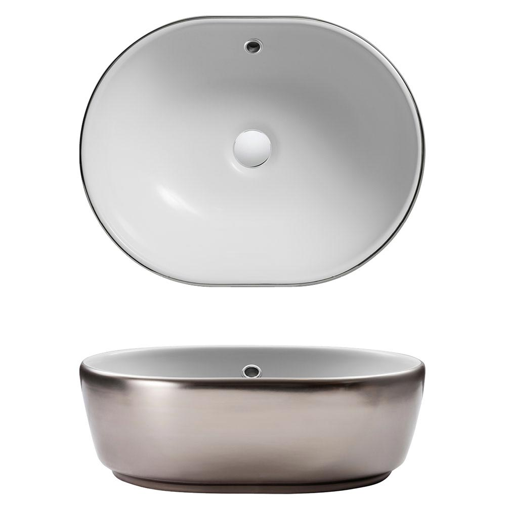 Crosswater Pearl Platinum Countertop Basin with Overflow - 450 x 350mm