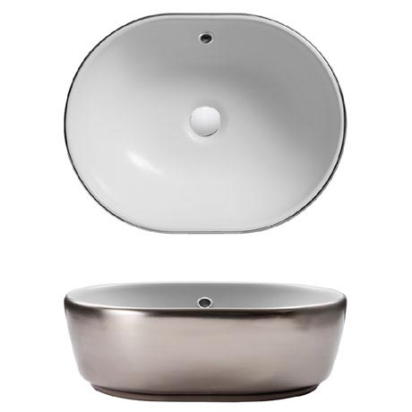 Bauhaus Pearl Platinum Countertop Basin with Overflow - 450 x 350mm