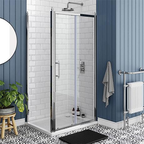 Chatsworth Traditional 1000 x 700mm Sliding Door Shower Enclosure + Tray