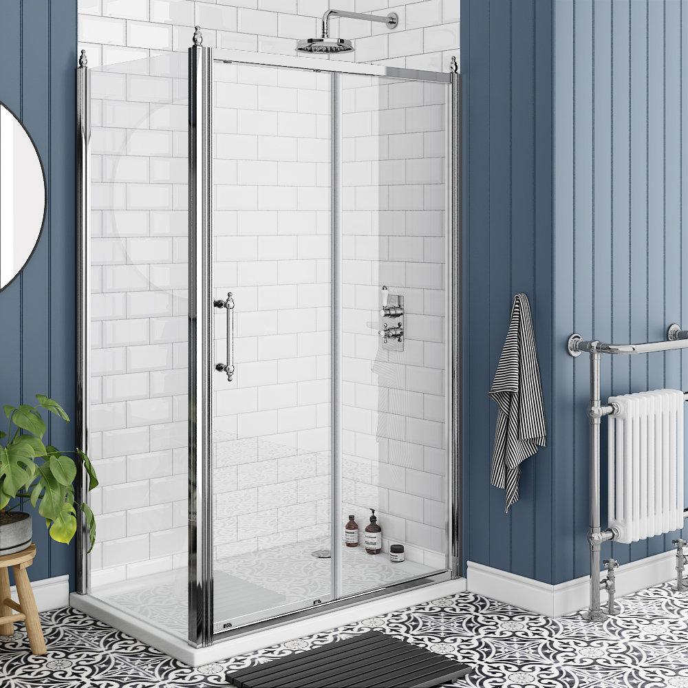 Chatsworth Traditional 1200 x 700mm Sliding Door Shower Enclosure + Tray