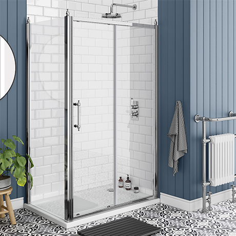Chatsworth Traditional 1200 x 700mm Sliding Door Shower Enclosure + Tray