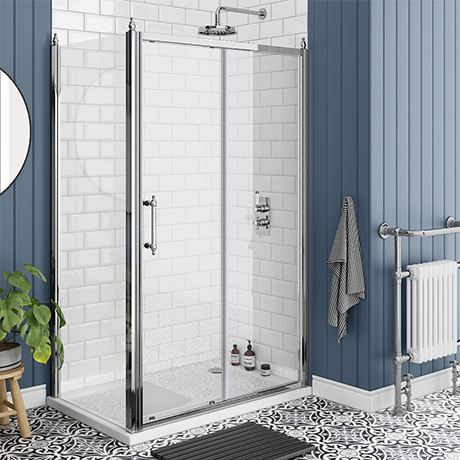 Chatsworth Traditional 1200 x 800mm Sliding Door Shower Enclosure + Tray