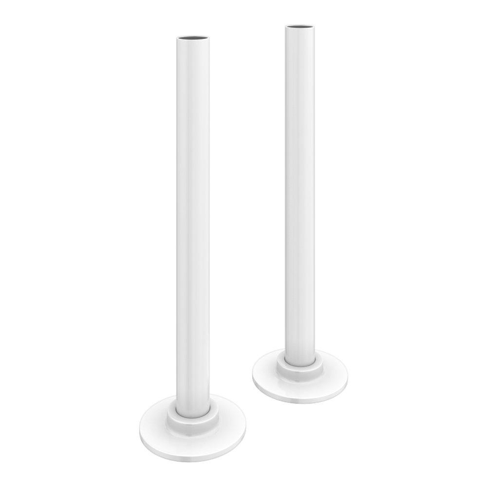 180mm Gloss White Tubes + Plates for Radiator Valves