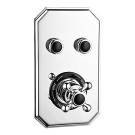 Chatsworth 1928 Traditional Black Two Outlet Push-Button Shower Valve