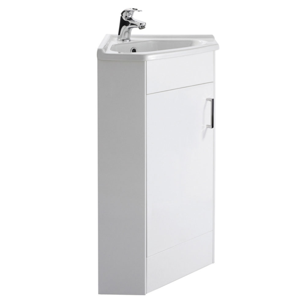 Nuie Floor Mounted 1-Door Corner Unit inc. Ceramic Basin - CU001