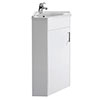 Nuie Floor Mounted Corner Vanity Unit - Gloss White - 555mm with Chrome Handle - CU001 profile small image view 1