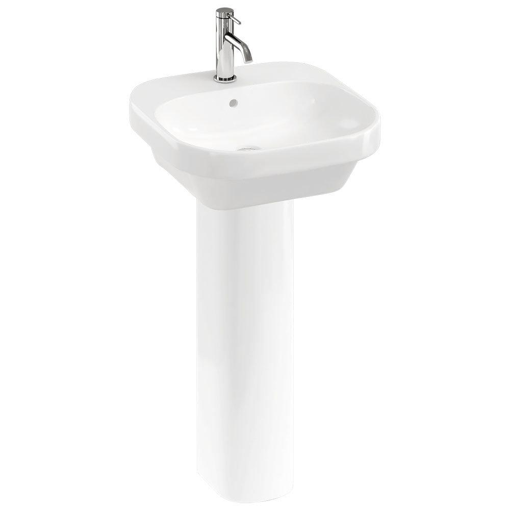 Britton Bathrooms Curve2 450mm 1TH Basin with Full Pedestal