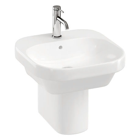 Britton Bathrooms Curve2 450mm 1TH Basin with Semi Pedestal