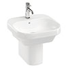 Britton Bathrooms Curve2 450mm 1TH Basin with Semi Pedestal profile small image view 1