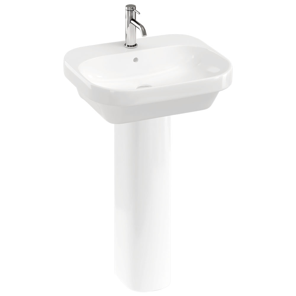 Britton Bathrooms Curve2 550mm 1TH Basin with Full Pedestal