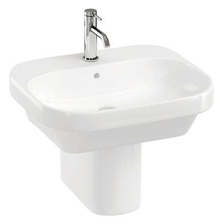 Britton Bathrooms Curve2 550mm 1TH Basin with Semi Pedestal
