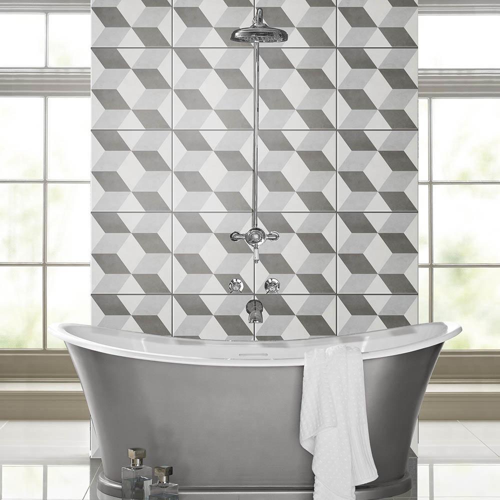 Cube Grey Patterned Floor Tiles - 331 x 331mm  Standard Large Image