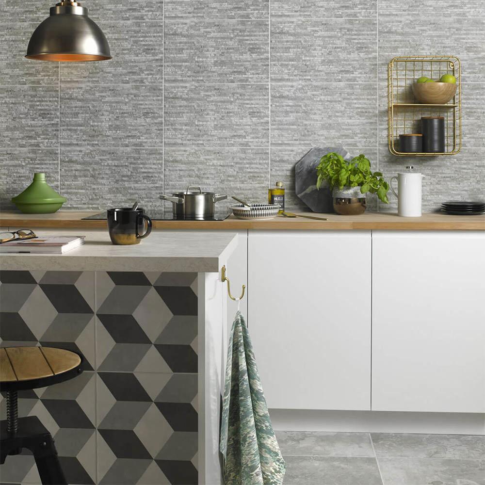 Cube Grey Patterned Floor Tiles - 331 x 331mm  In Bathroom Large Image
