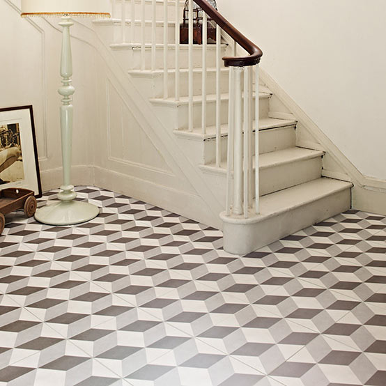 Cube Grey Patterned Floor Tiles - 331 x 331mm  Profile Large Image