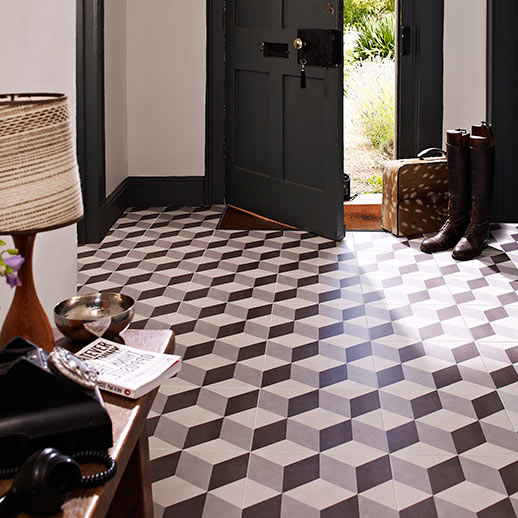 Cube Grey Patterned Floor Tiles - 331 x 331mm  Feature Large Image