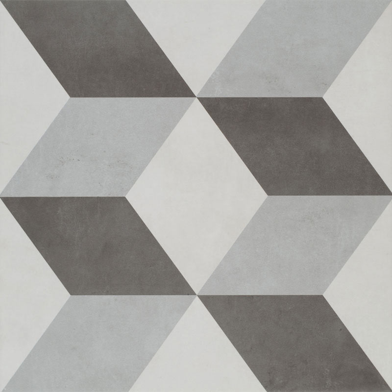 Cube Grey Patterned Floor Tiles - 331 x 331mm Large Image