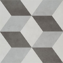 Cube Grey Patterned Floor Tiles - 331 x 331mm Medium Image