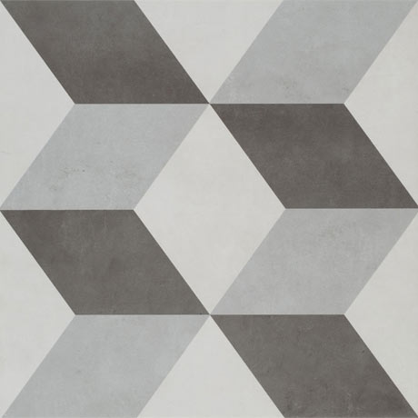 Cube Grey Patterned Floor Tiles - 331 x 331mm