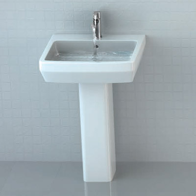 Britton Bathrooms - Cube S20 Washbasin with Square Full Pedestal - 2 Size Options Profile Large Image