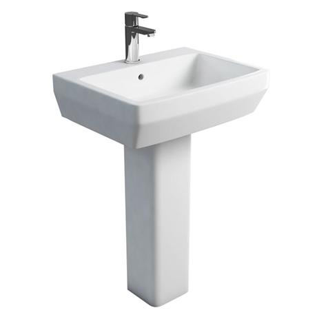 Britton Bathrooms - Cube S20 Washbasin with Square Full Pedestal - 2 Size Options