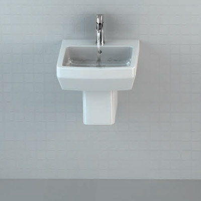 Britton Bathrooms - Cube S20 Washbasin with Square Semi Pedestal - 2 Size Options profile large image view 2
