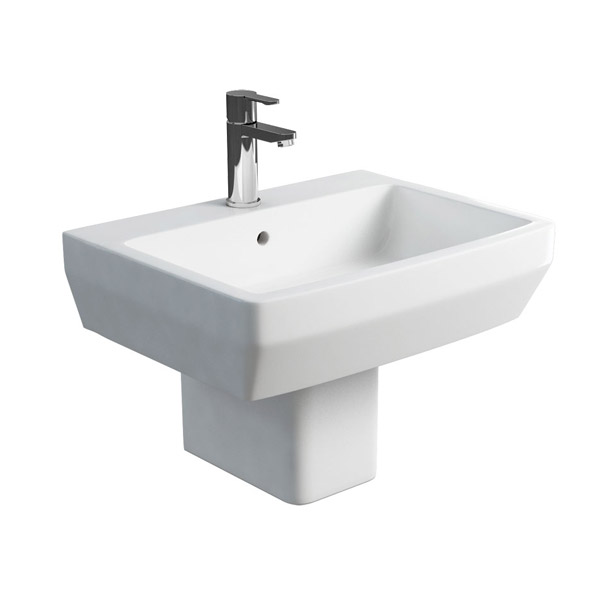 Britton Bathrooms - Cube S20 Washbasin with Square Semi Pedestal - 2 Size Options profile large image view 1