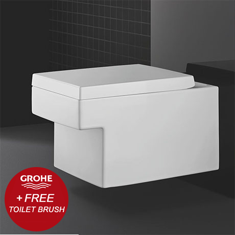 Grohe Cube Ceramic Rimless Wall Hung Toilet with Soft Close Seat