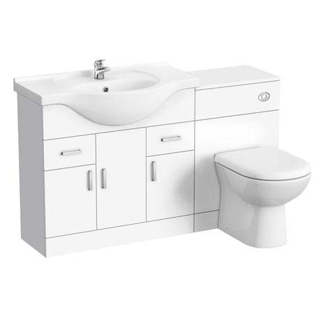 Cove 1320mm Vanity Unit Suite + Tap (High Gloss White - Depth 330mm)