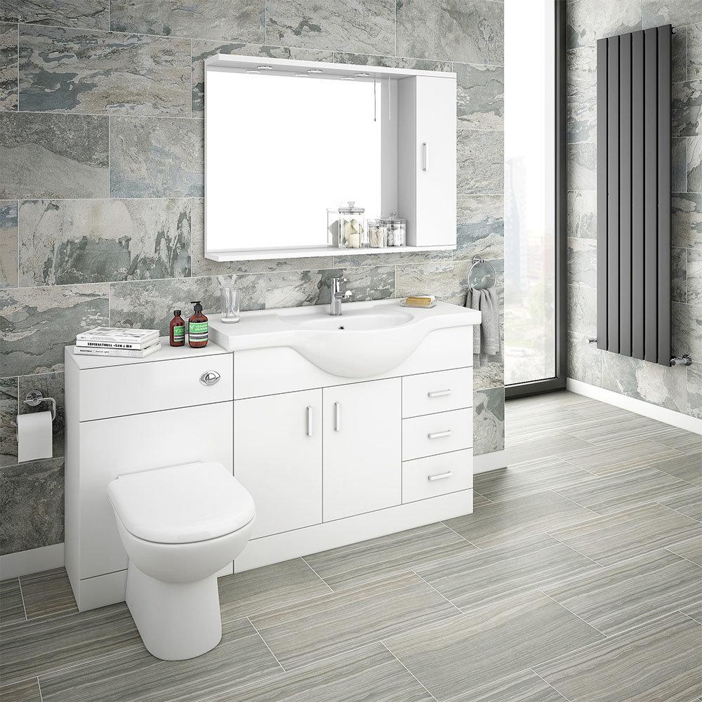 Cove 3mm Vanity Unit Bathroom Suite (High Gloss White - Depth 3mm)   Victorian Plumbing UK